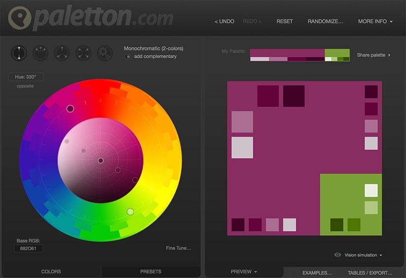 Círculo crómatico online, herramienta que te permite crear paletas de colores interesantes, a través de sus combinaciones; colores complementarios, monocromáticos, análogos y triádicos.