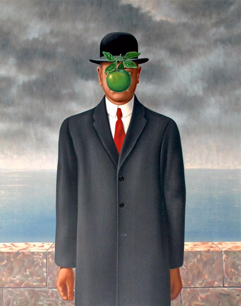 Supuesto autorretrato del artista surrealista René Magritte, en el que aparece una manzana suspendida que le oculta el rostro.