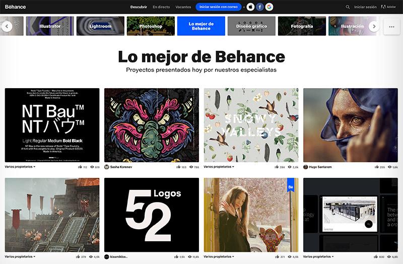 Crear tu portafolio de diseño, ilustración y animación en Behance.