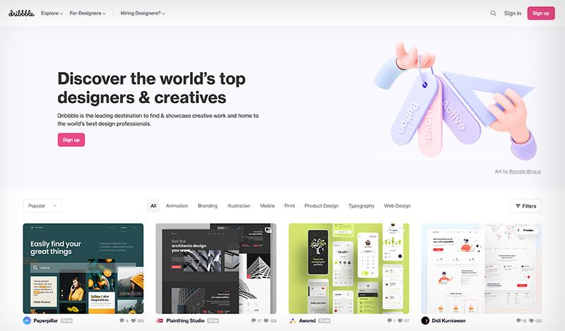 Dribble portafolio para profesionales del diseño web, la ilustración y el diseño UX/UI.