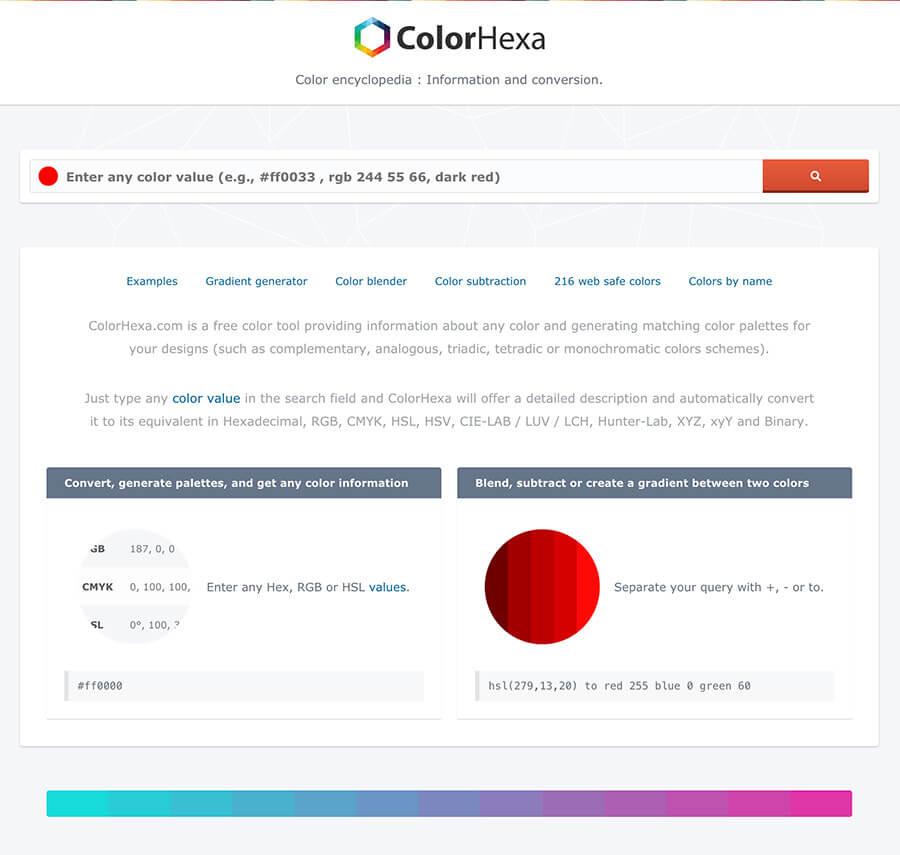 Paleta de color Hexa online