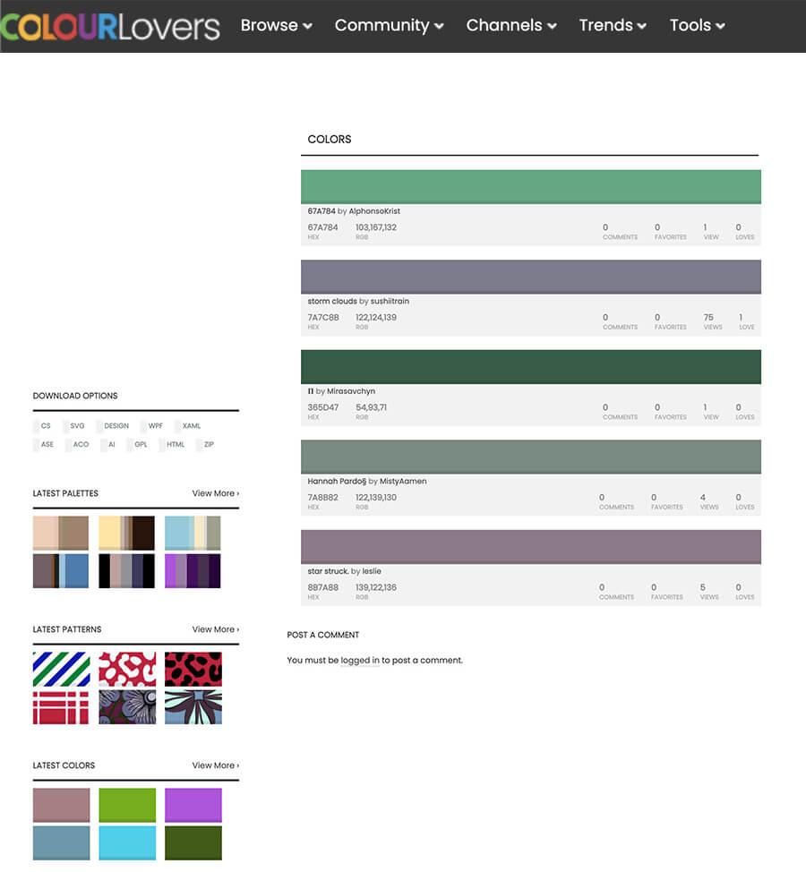 Color Lovers generador de colores en línea