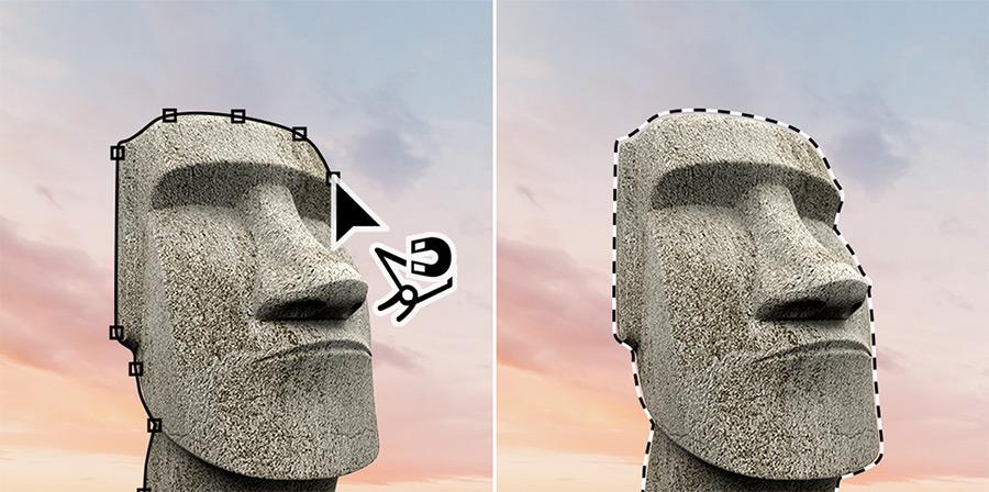 Herramienta de lazo magnético Adobe Photoshop.