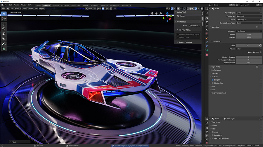 Modelo 3D de vehículo futurista Hard Surface.