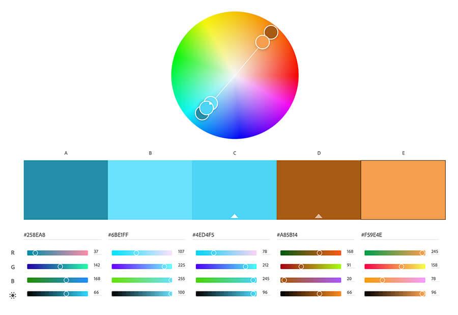 Circulo cromático con colores complementarios