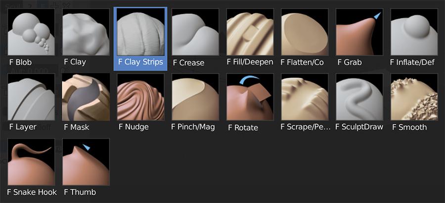 Pinceles Blender de escultura digital 3D,