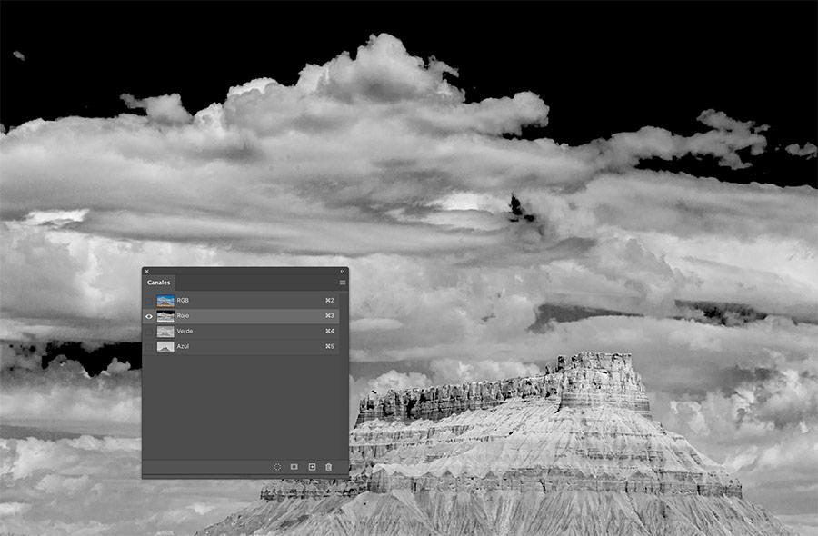 Canales de color RGB Adobe Photoshop.