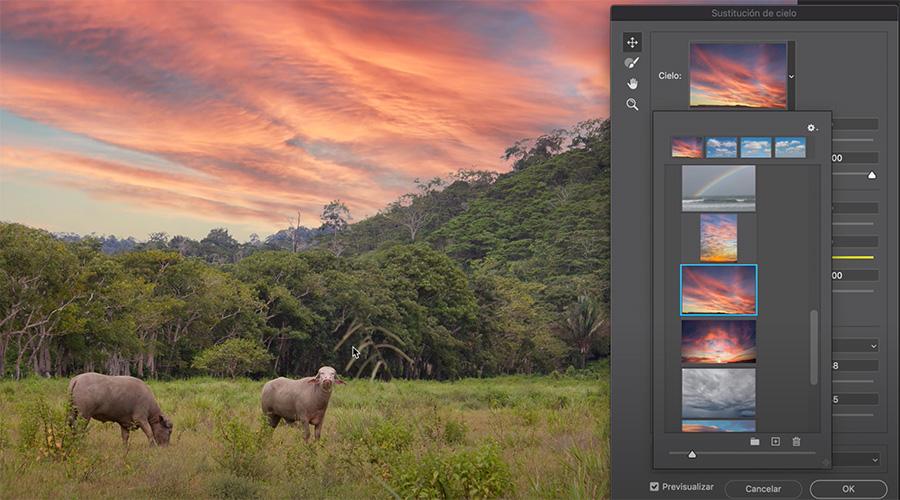 Cambiar o reemplazar cielo con la herramienta de sustitución de cielo de Adobe Photoshop 2021.